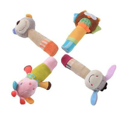Animal Rattle Squeaker BB Sounder Plush Infant Baby Grasping Rods Hand Toys - LD