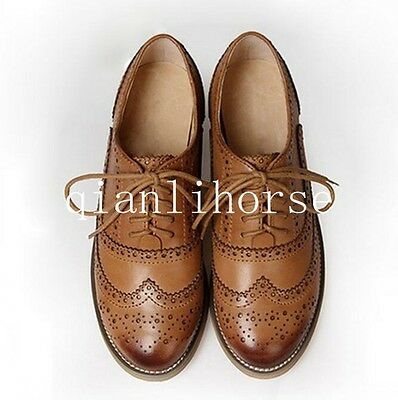 Retro Women Leather Flat Heel Brogues Wingtip Lace Up Dress Oxfords Casual Shoes