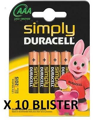 Kit 10 Blister X 4 Batterie Mini Stilo Duracell Aaa Lr03/Mn2400 Simply Scad.2020