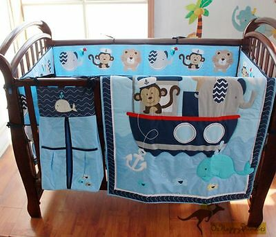 New Baby Boys 9 Pieces Cotton Monkey Sailor Theme Nursery Bedding Crib Cot Sets