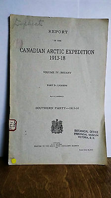 Vintage Report Canadian Arctic Expedition 1913-18 Botany, Lichens, G. K. Merrill