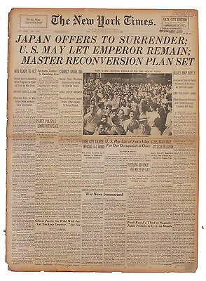 WWII ''New York Times'' Newspaper August 1945