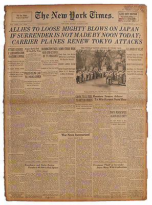 WWII ''New York Times'' August 1945 Newspaper