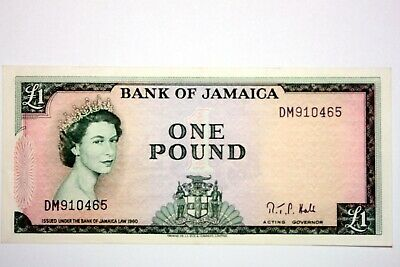 Better Date Bank of Jamaica One Pound Note AU 1960-1964 KP51C NUM1620