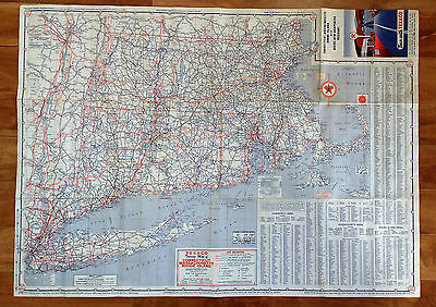 Vintage Texaco New England States Map 1950's Gas Oil Advertising