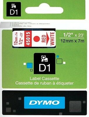 DYMO D1 LABEL 12mm x 7M 45015 TAPE ROOD WIT RED WHITE ROSSO BIANCO ROUGE BLANC