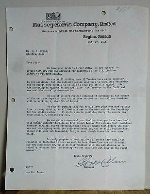 Vintage 1945 Collectible Letterhead Massey Harris Company Limited Combine Ship