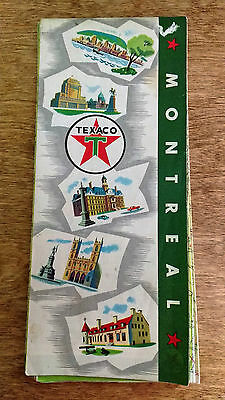 Vintage Texaco Montreal Map 1950' 1960's City Oil Advertising