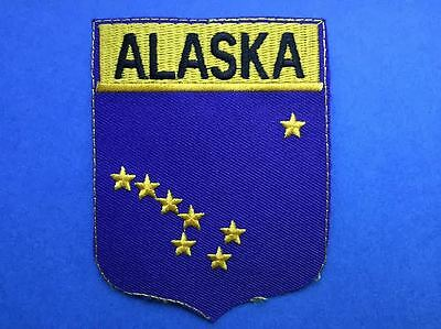 Rare Alaska Flag Shield Iron On Hat Jacket Vest Backpack Travel Patch Crest AA