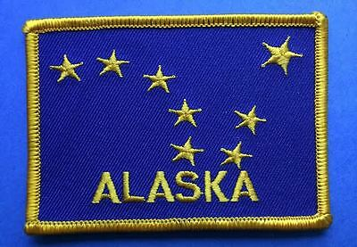 Rare Alaska Flag Shield Iron On Hat Jacket Vest Backpack Travel Patch Crest CC