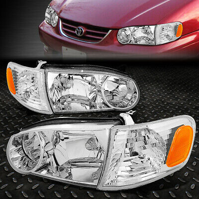 For 2001-2002 Toyota Corolla Pair Chrome Housing Amber Corner Headlight/lamp Set