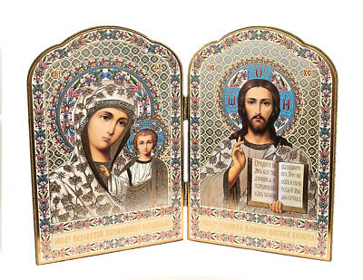 "Christ the Teacher and Virgin of Kazan Russian Orthodox Icon Diptych 8"" Gift"
