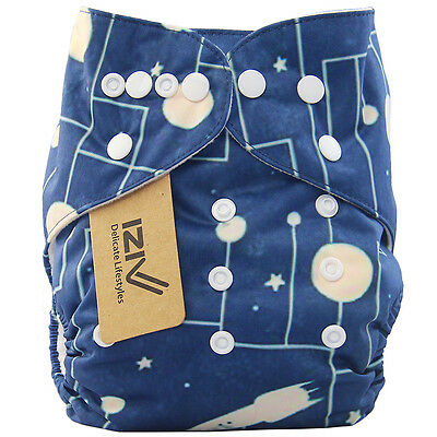 iZiv Baby's Cloth Diaper Universe Night Sky Nappy Adjustable Washable Blue H032