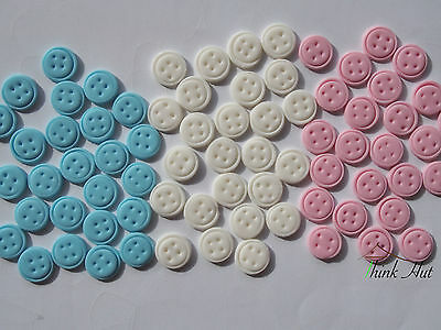 25 Edible Buttons 1.5Cm Blue Pink & White Cake Cupcake Toppers Baby Shower