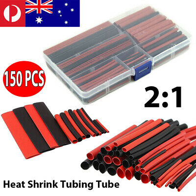 150pcs Heat Shrink Wire Tubing Electrical Connection Cable Sleeve Red Black