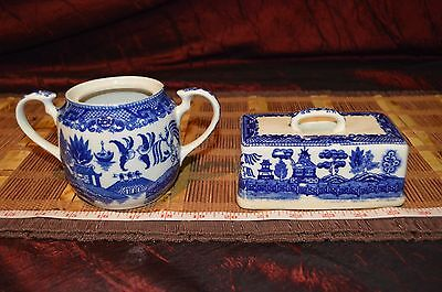 Vintage Blue Willow Butter Dish Lid and Sugar Bowl Japan