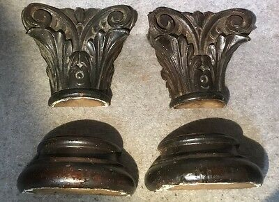Pair Antique Carved Column Top And Bottoms carved Mahogany has been painted