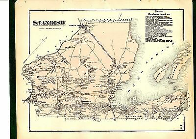 1871 Map of Standish, Maine, from Beers' Cumberland County Atlas - original