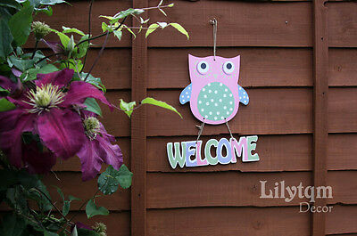 Owl Welcome Garden Hanging Sign Plaque Wall Fence Decoration Animal Pink
