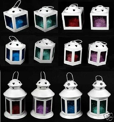 Indian Moroccan White Hanging Coloured Tonal Glass Lantern Tea Light Holder Home