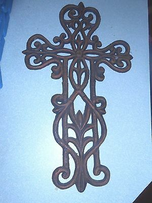 "Vintage Antique Iron Crucifix Cross Large 15"" weighs 2 Pounds ORNATE Hand Forged"