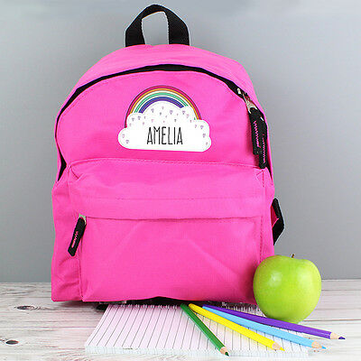 Personalised School Bag Backpack Rucksack for a Girl Kid's Name & Design Pink