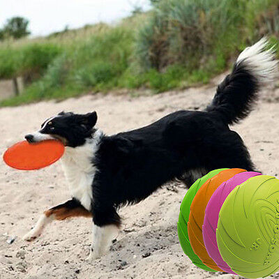 Pet Dog Frisbee Flying Disc Tooth Resistant Training Fetch Play Toy Color Random