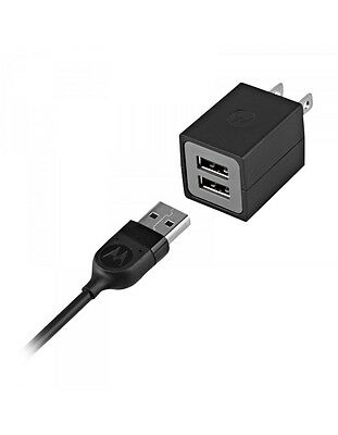 Genuine OEM Motorola Dual 2-Port Power Adapter Travel Charger + Micro-USB Cable