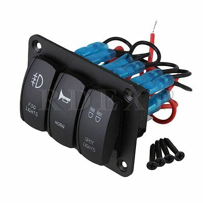 Dual Blue LED  5Pin 3 Gang DC12V ON-OFF Automotive Rocker Switch Panel for Boat