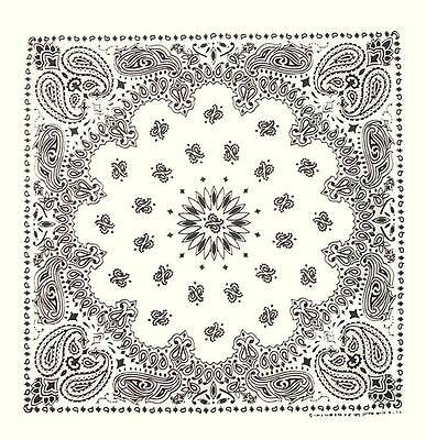 "New 22"" White Paisley Bandana Handkerchief Scarf 100% Cotton Made In USA"