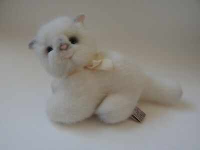 Russ Berrie White Kitten/cat Soft Toy With Green Eyes Item No. 7855