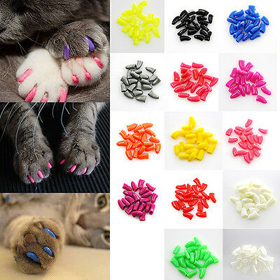 20pcs Soft Rubber Pet Cat Dog Nail Claw Paws Caps Adhesive Glue Cover Protector