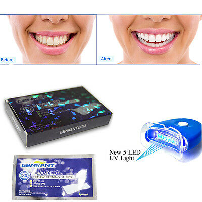 Teeth Whitening Strips + Laser UV 5 LEDs Light Tooth Whitener Kit Home Bleaching