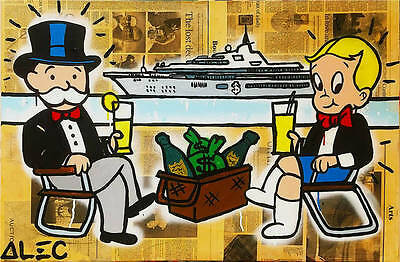 Alec Monopoly Oil Painting on Canvas Graffiti art wall decor Yacht 28x48""