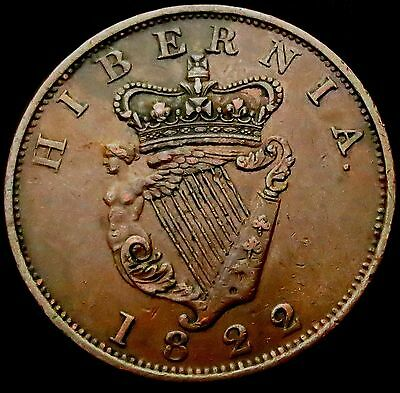 R860: 1822 Irish George IV Large Copper PENNY - Spink 6623