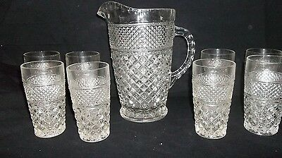 Vintage Anchor Hocking Wexford Pitcher and Glass Set