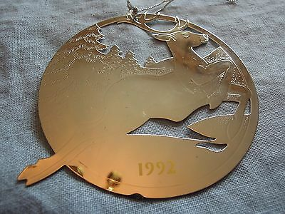 1992 Avon Annual Silver Plated Reindeer Christmas Ornament