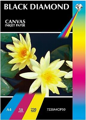 Black Diamond A4 A3 Canvas Textured Inkjet Photo Printer Paper 220gsm 20 50 100