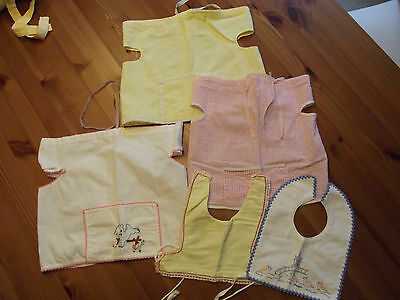 Lot 5 Vintage French Baby Bibs Wrap Over Cotton Embroidery Doll Bear