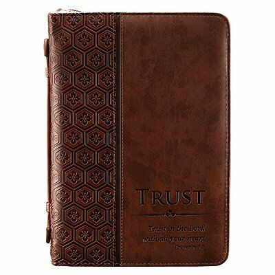 """NEW """"Trust"""" Brown Tile Design Bible / Book Cover  Proverbs 3:5 Large SHIPS FREE"""