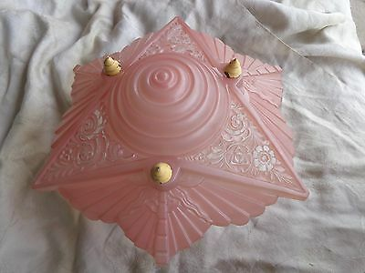 Vintage Consolidated Geometric Lace Floral Pink Art Deco Glass Light Fixture