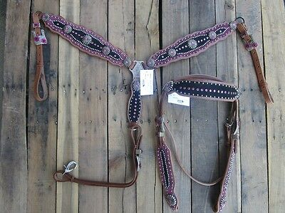 Western Headstall Breastcollar Set Pink Silver Show Trail Horse Leather Bridle