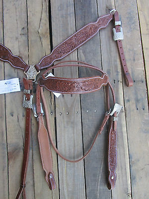 Western Cowboy Headstall Breastcollar Floral Tooled Leather Barrel Horse Bridle