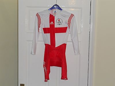 Adidas skinsuit ENGLAND Commonwealth games bike cycling PADDED short team issued