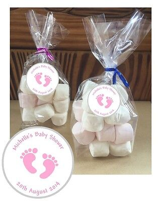 24 Personalised Baby Shower Pink Feet DIY Cello Party Sweetie Favour Bags