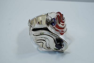 Heavy Taxco 950 Silver Amethyst Hinged Bracelet Signed 201.8 Grams  A473