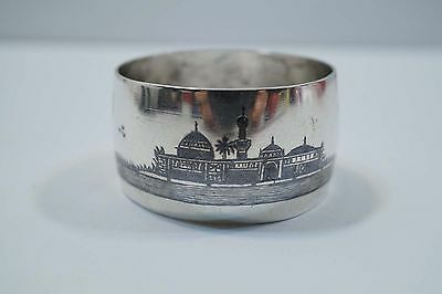 Iraqi Signed Silver Niello Scenic Napkin Holder A466