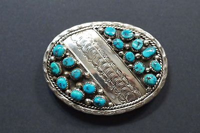 Stunning Kay Begay-Rodgers Navajo Sterling Turquoise Belt Buckle  A475