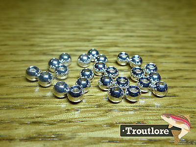 "25 PIECES TUNGSTEN BEAD HEADS SILVER 3/32"" 2.4mm - NEW FLY TYING MATERIALS"