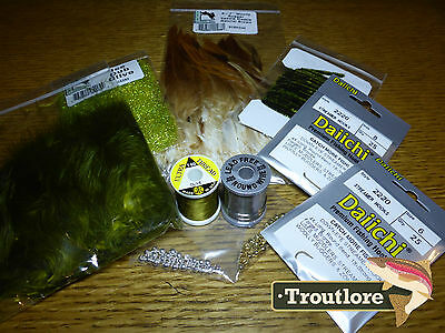 10 Pc Woolly Bugger Kit #1 - Beads Feathers Dubbing Pack New Fly Tying Material